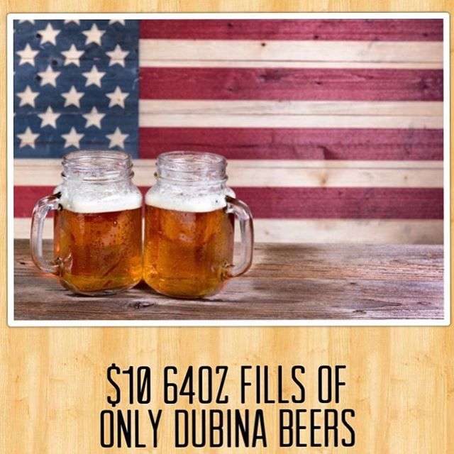 We will be open from 11am-6pm for the 4th of July. Only the bar though. Kitchen will be closed. $10 64oz DUBINA BEER fills for the day.  #azbrewery #glendale #glendaleaz #drinklocal #drinklocalcraftbeer #supportlocal #craftnotcrap #craftbeer #growler #4thofjuly #chooseazbrews #merica #redwhiteandbrew