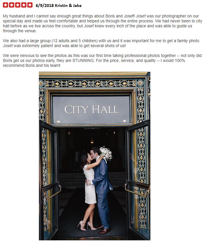 San Francisco City Hall Wedding Photographer Review