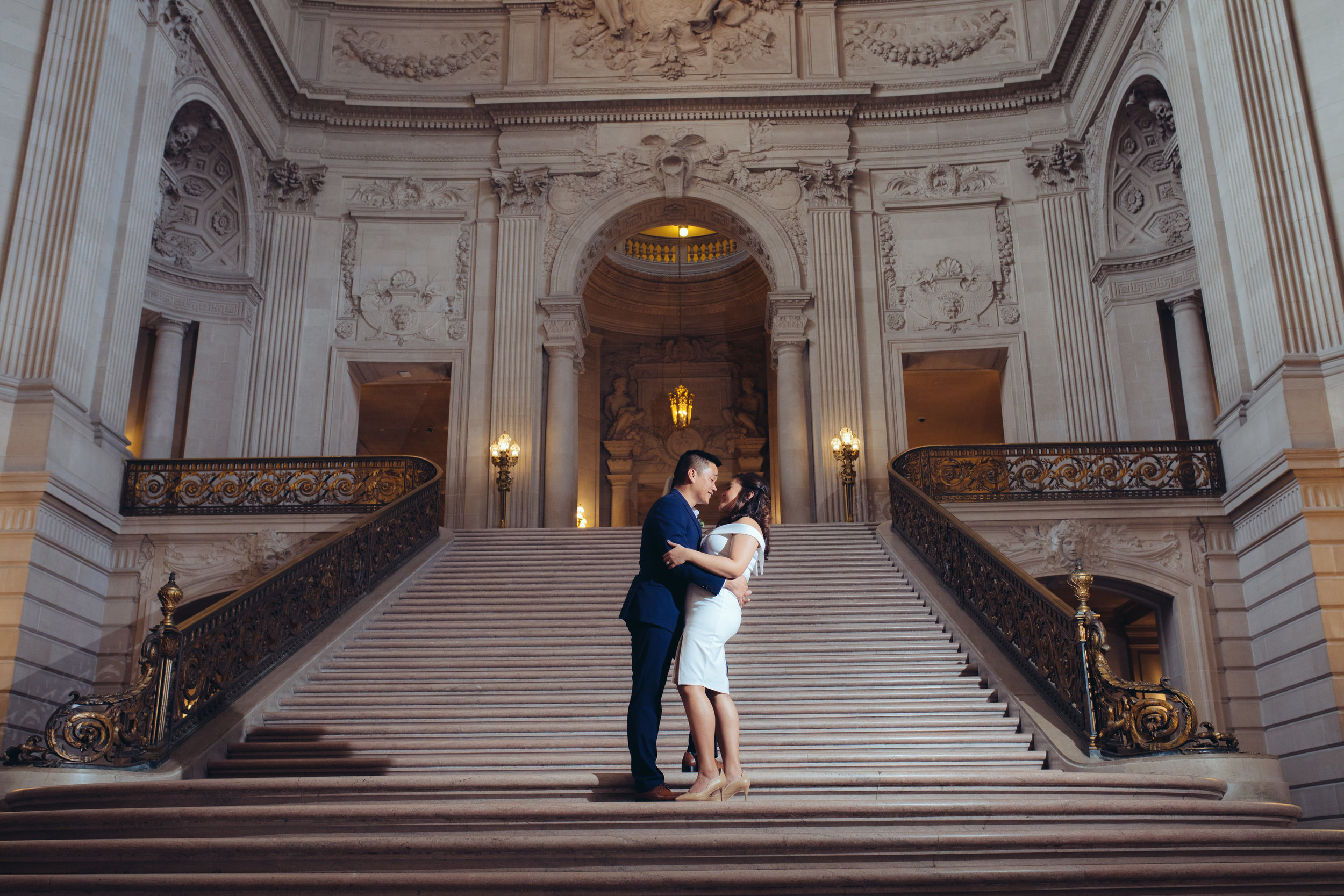 SF City Hall wedding - the grand stairwell