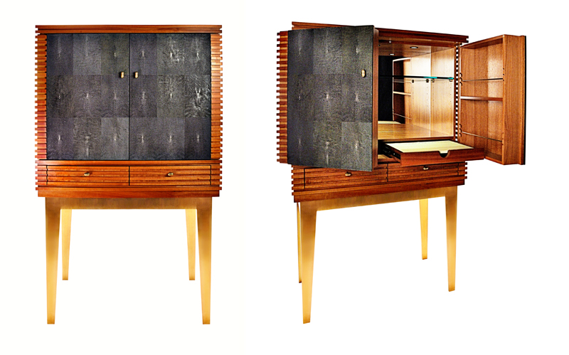 Bruce Bar: Shagreen (stingray), bronze base, solid macaray wood