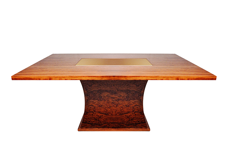 Solid and veneer bubinga table with gold inlay