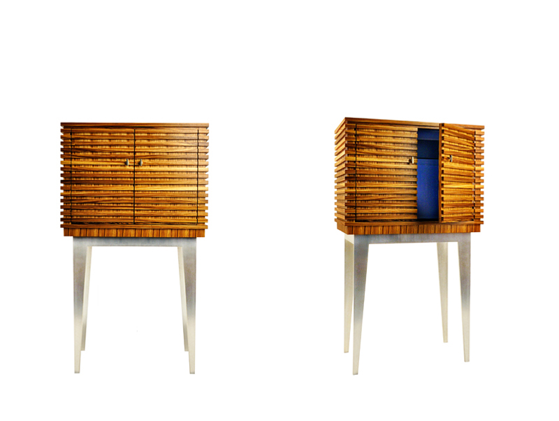 Solid zebra wood bar, on a silver plated bronze, with lacquered interior, white bronze pulls