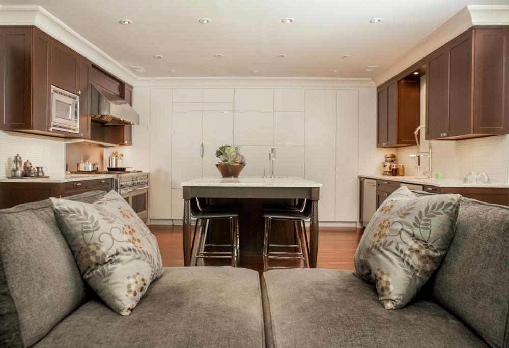 Custom Tête-à-Tête Sofa, Concealed Cabinetry, Custom Kitchen and Leg Design