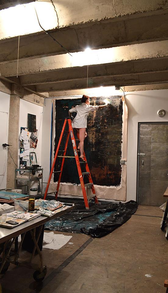 "Creative process of painting ""Deep Six"" for SE Designs Pasadena project.  Photo: Monique Ozimkowski"