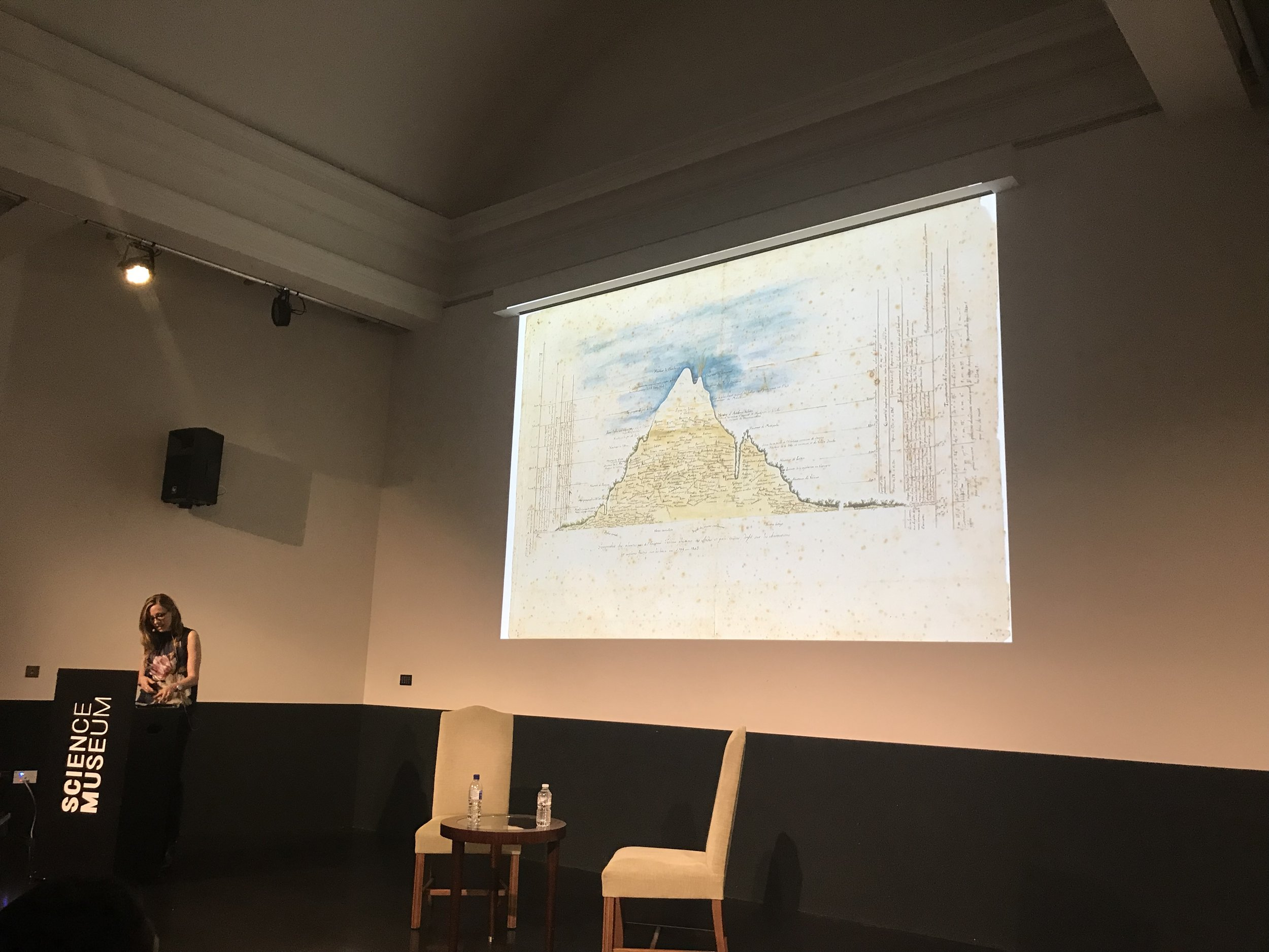 Andrea Wulf presenting Humboldt's species and stats map on Chimborazo | Credit: Talita Bateman