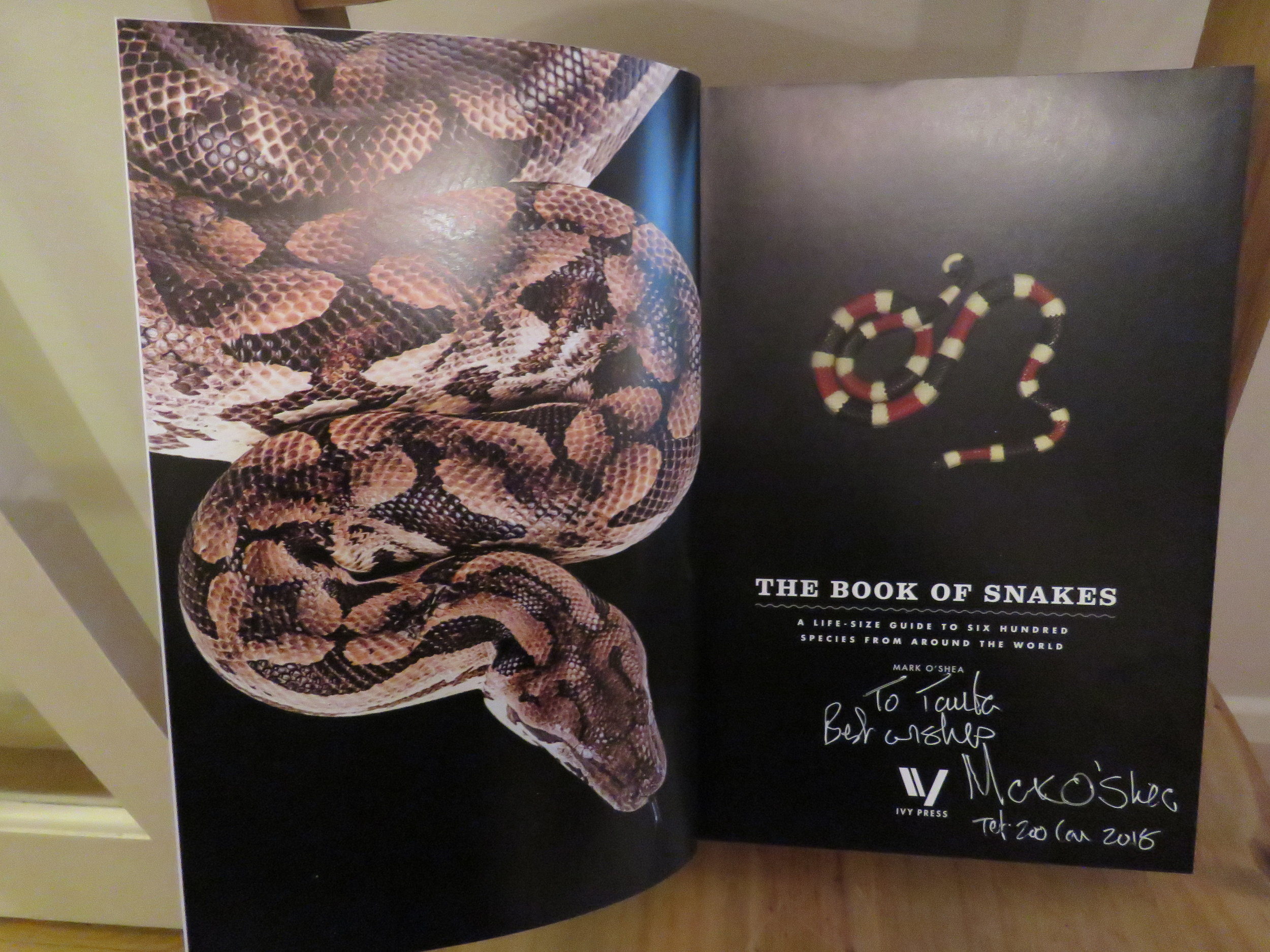 My signed copy of Mark O'Shea's new book 'The Book of Snakes' | Credit: Talita Bateman