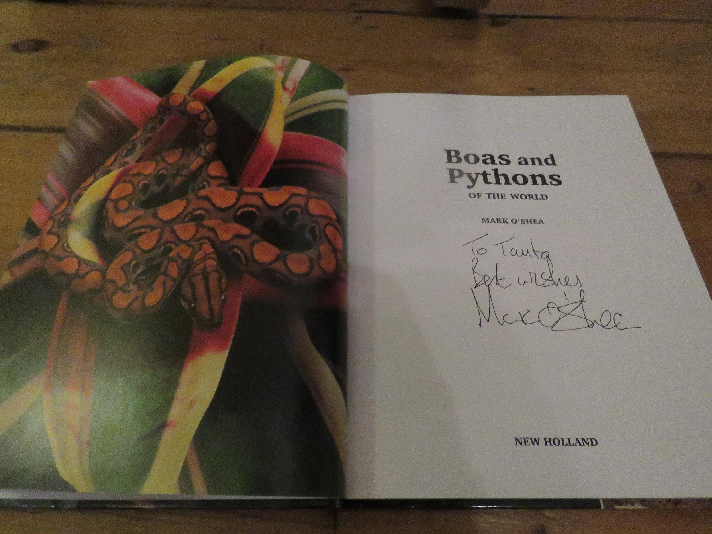 My signed copy of Mark O'Shea's book ' Boas and Pythons of the World' | Credit: Talita Bateman
