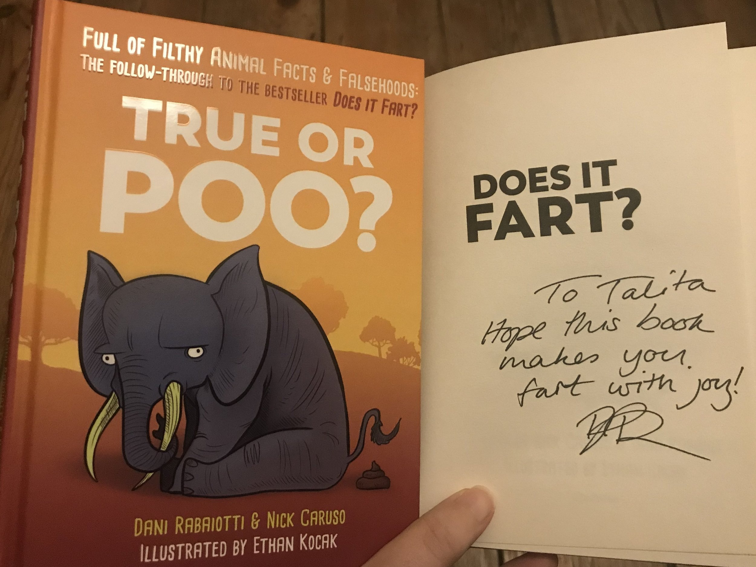 My signed copies of 'Does it Fart?' and 'True or Poo?' | Credit: Talita Bateman
