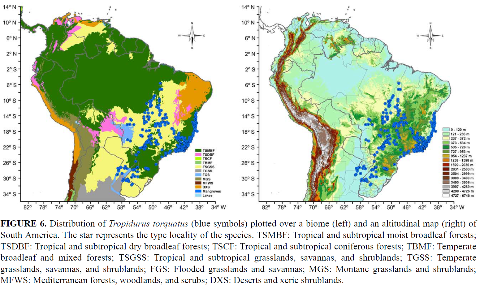 Distribution map presented in Gomes de Carvalho (2013)