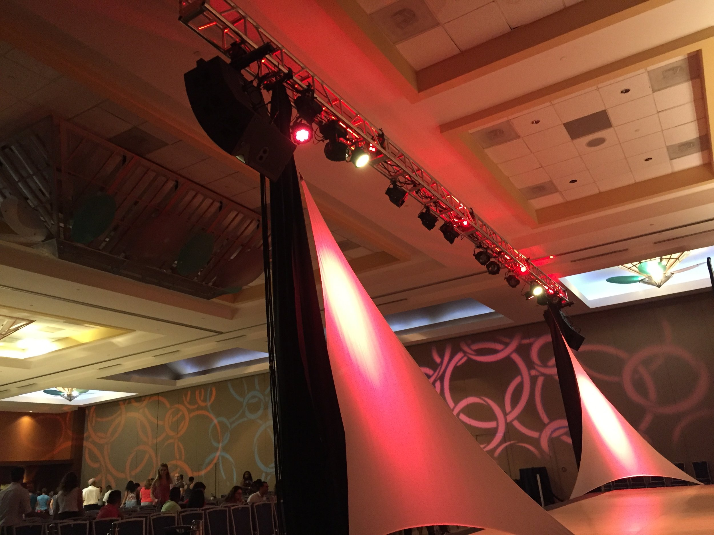 Truss with Stage Lighting and Line Array