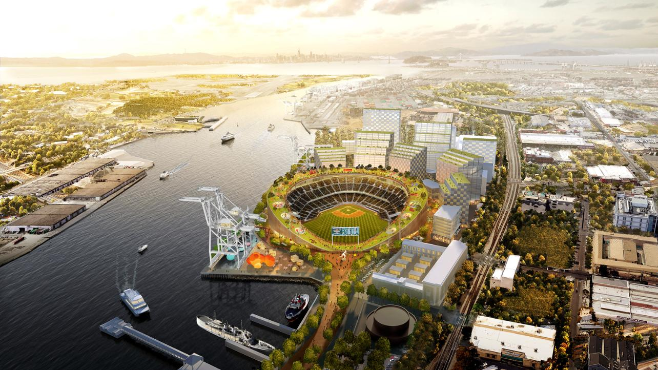Preliminary artist rendering for the proposed Oakland A's ballpark near Jack London Square in Oakland. The project will be LEED Gold and reflect the A's strong commitment to sustainable development and environmental justice (Credit: Oaklandballpark.com)