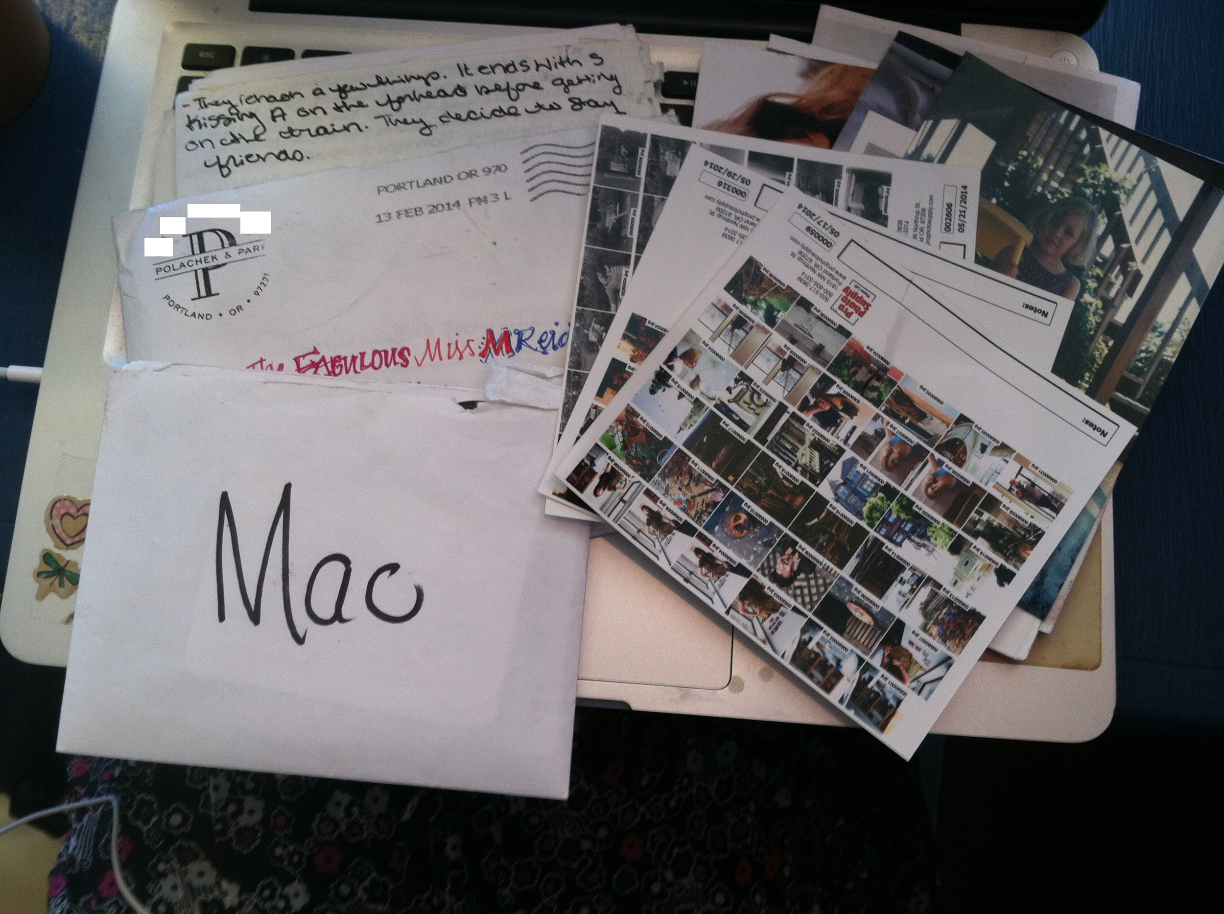 An envelope from my friend Julie filled with my most prized possessions.