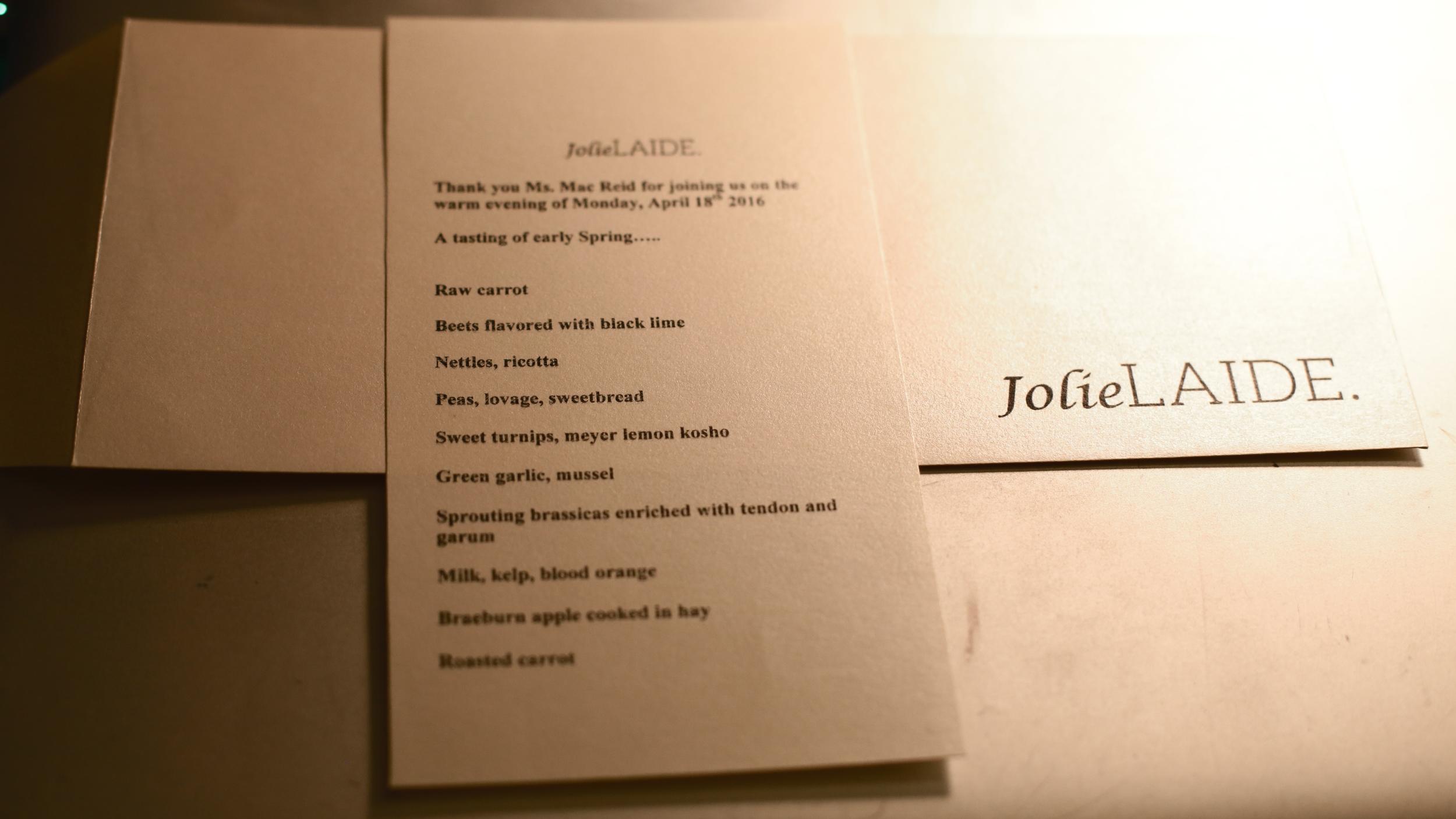 Our evening's tasting menu.