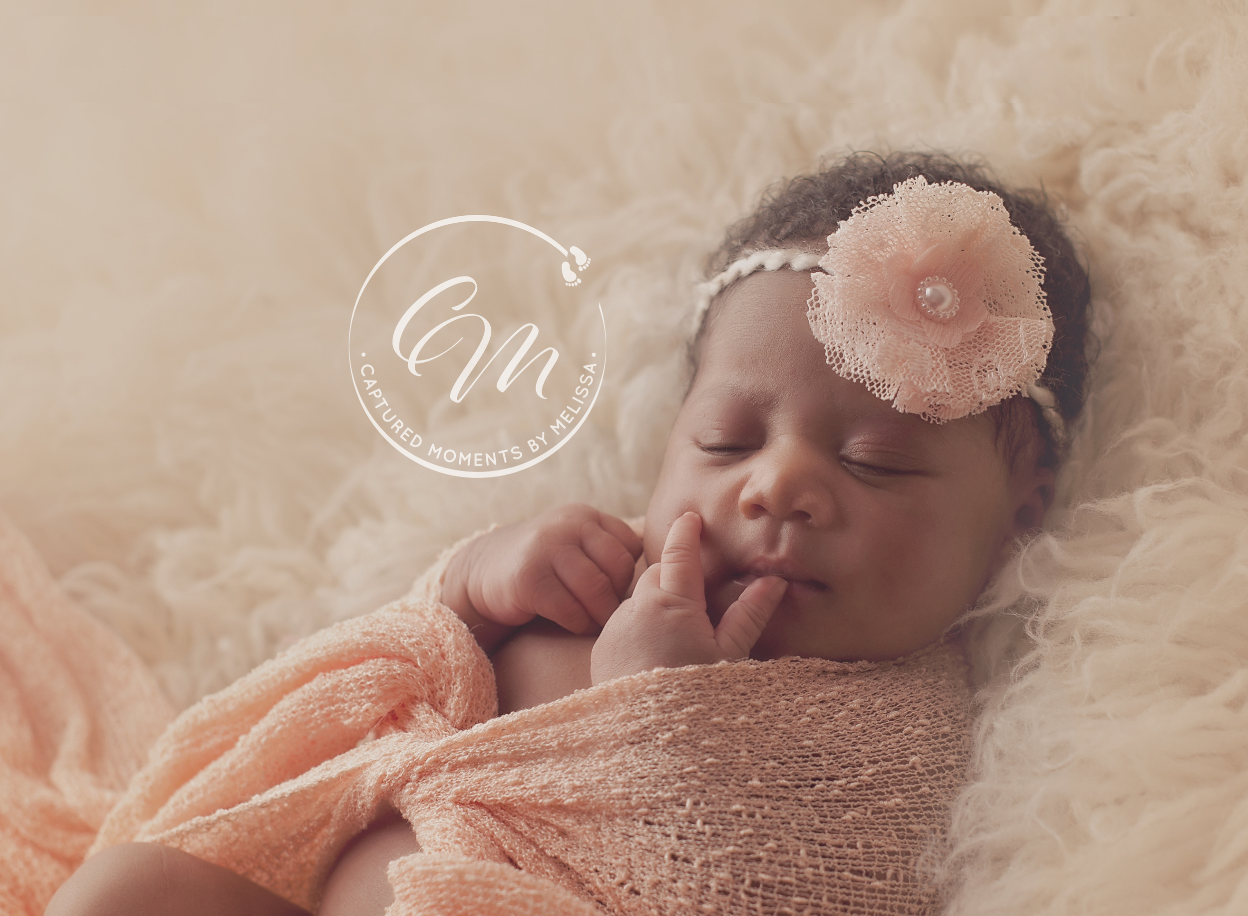 Newborn Girl In Peach Wrap | Newborn Photographer Kansas City Missouri