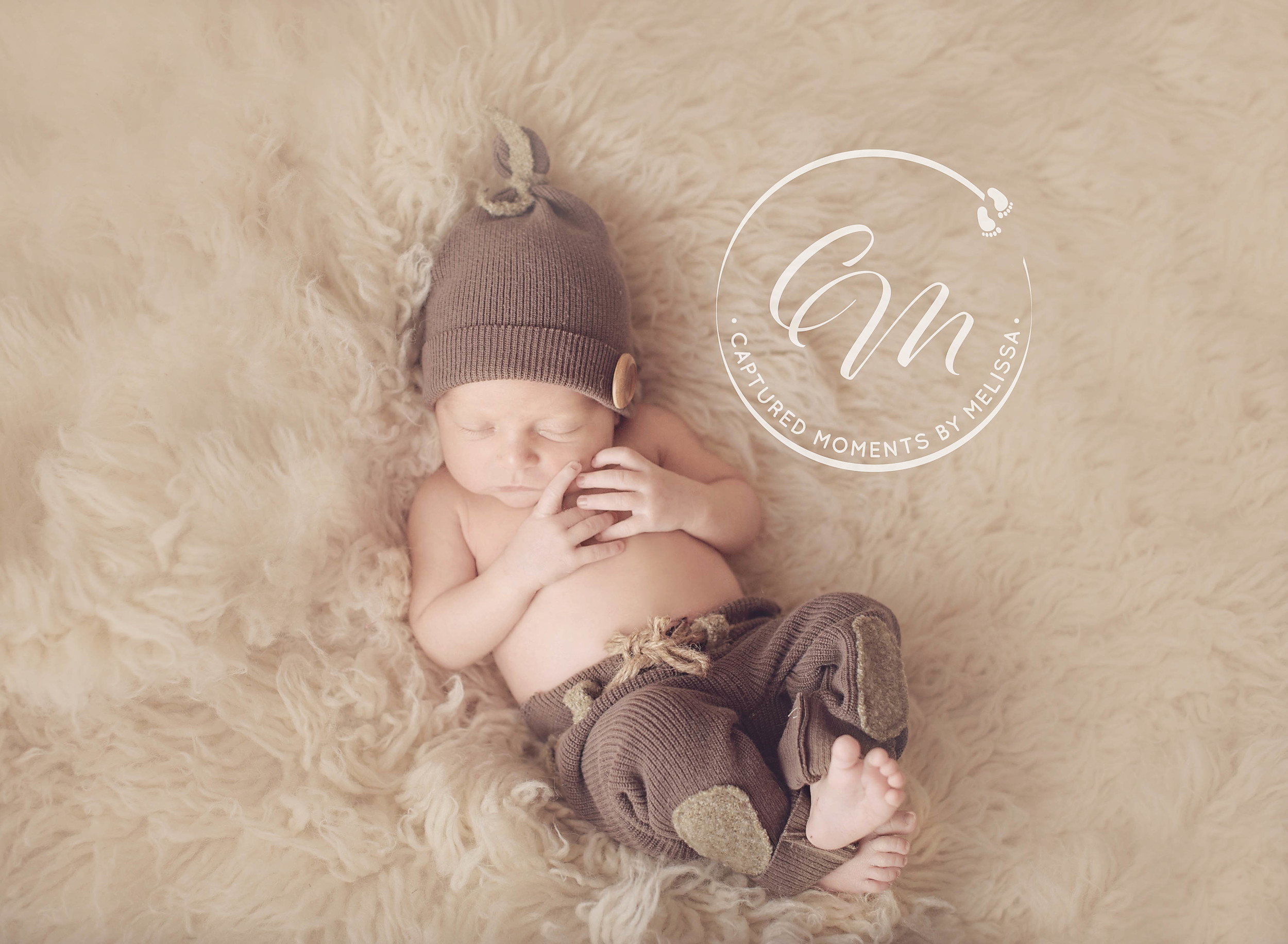 Newborn Boy In Brown Pants | Newborn Photographer Kansas City Missouri