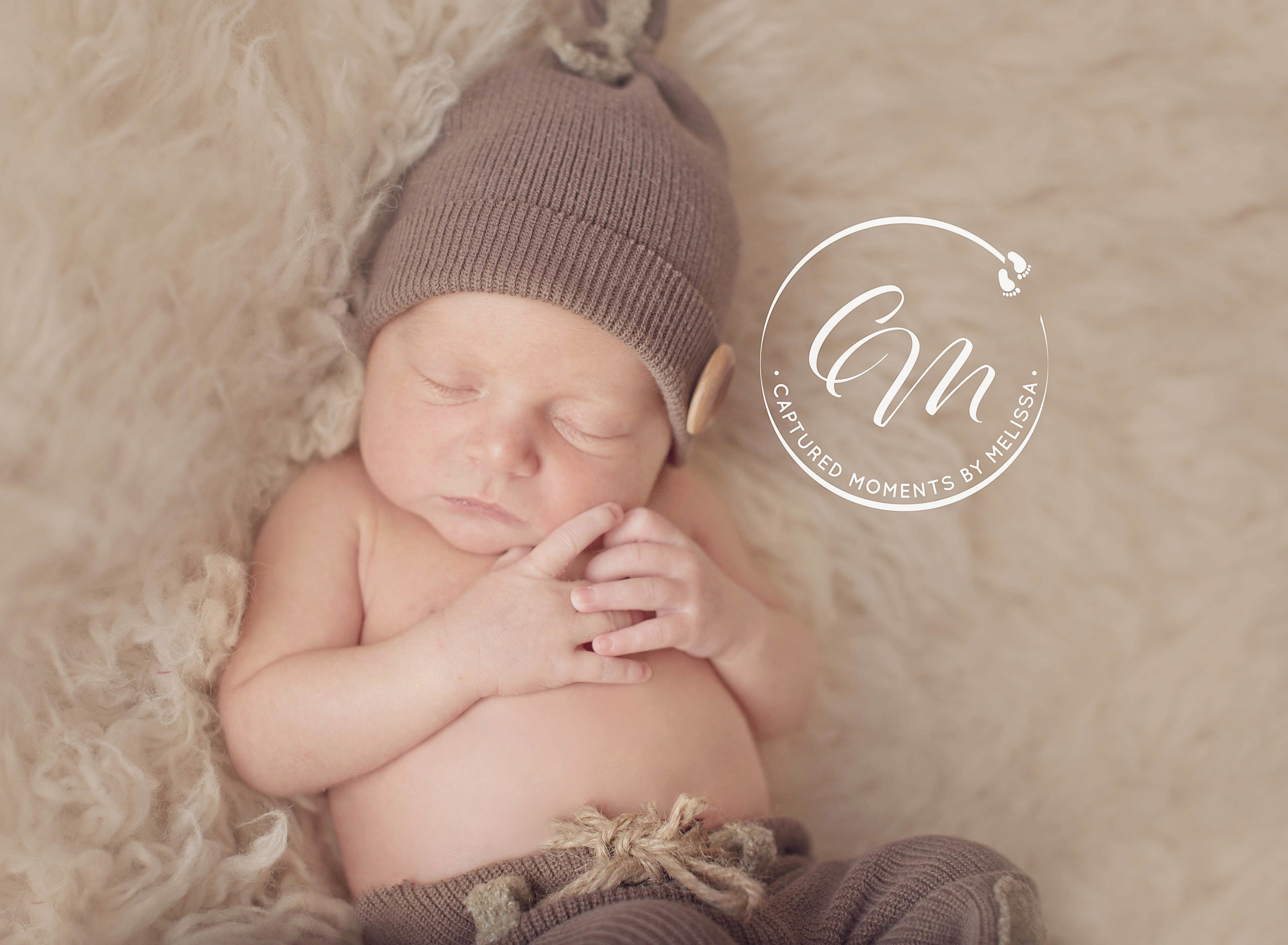 Newborn Boy In Brown Hat | Newborn Photographer Kansas City Missouri