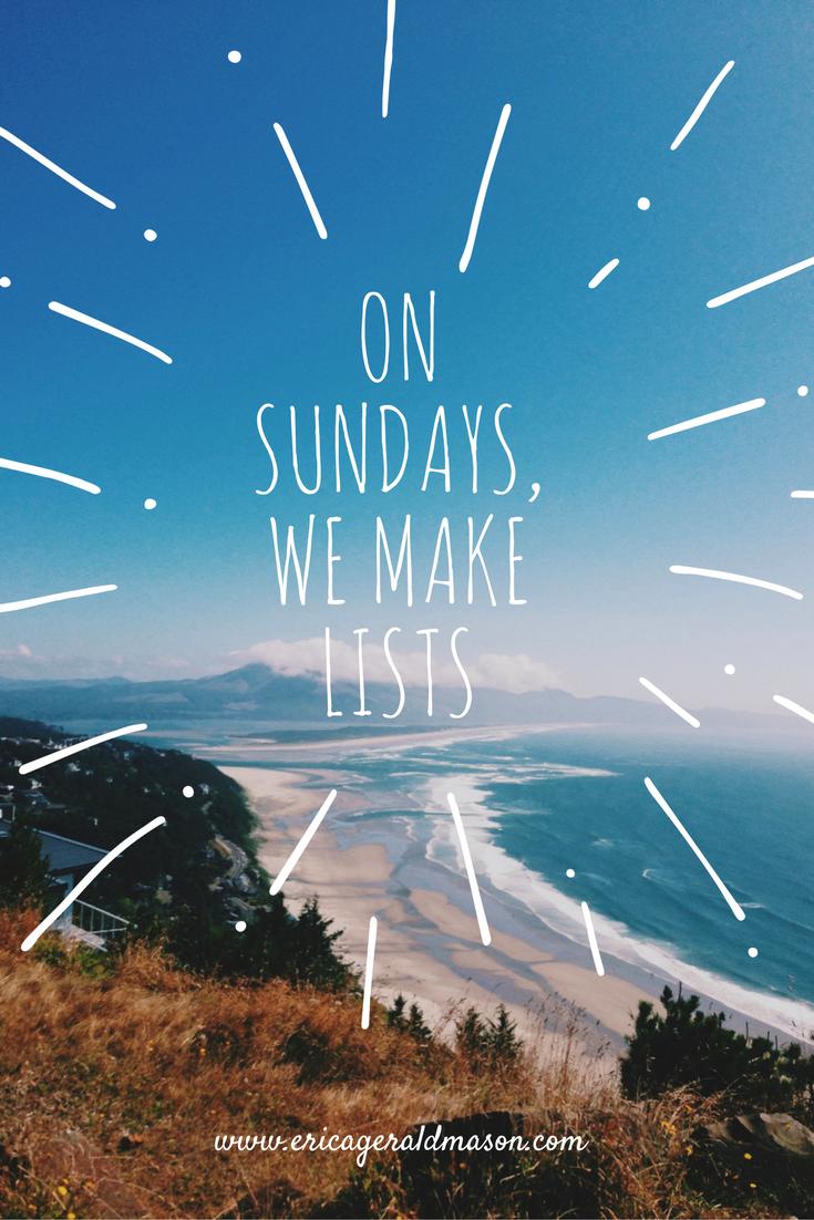 on sundays we make lists cover