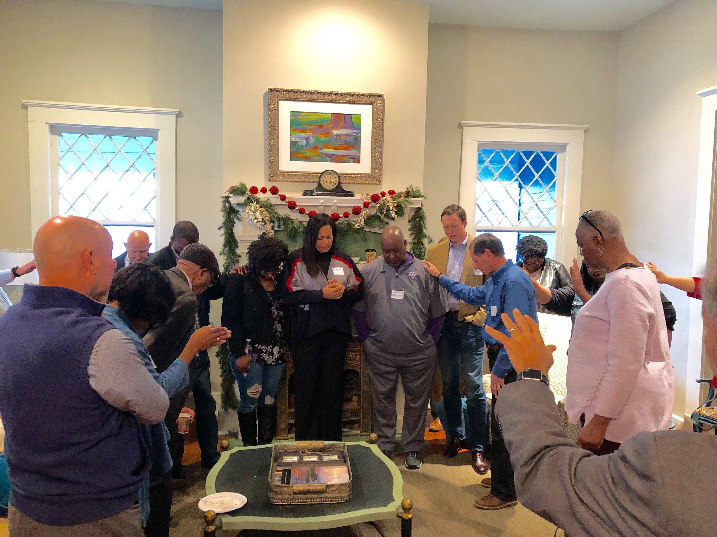 Prayer time at Life House for JLF's inner-city ministry partners