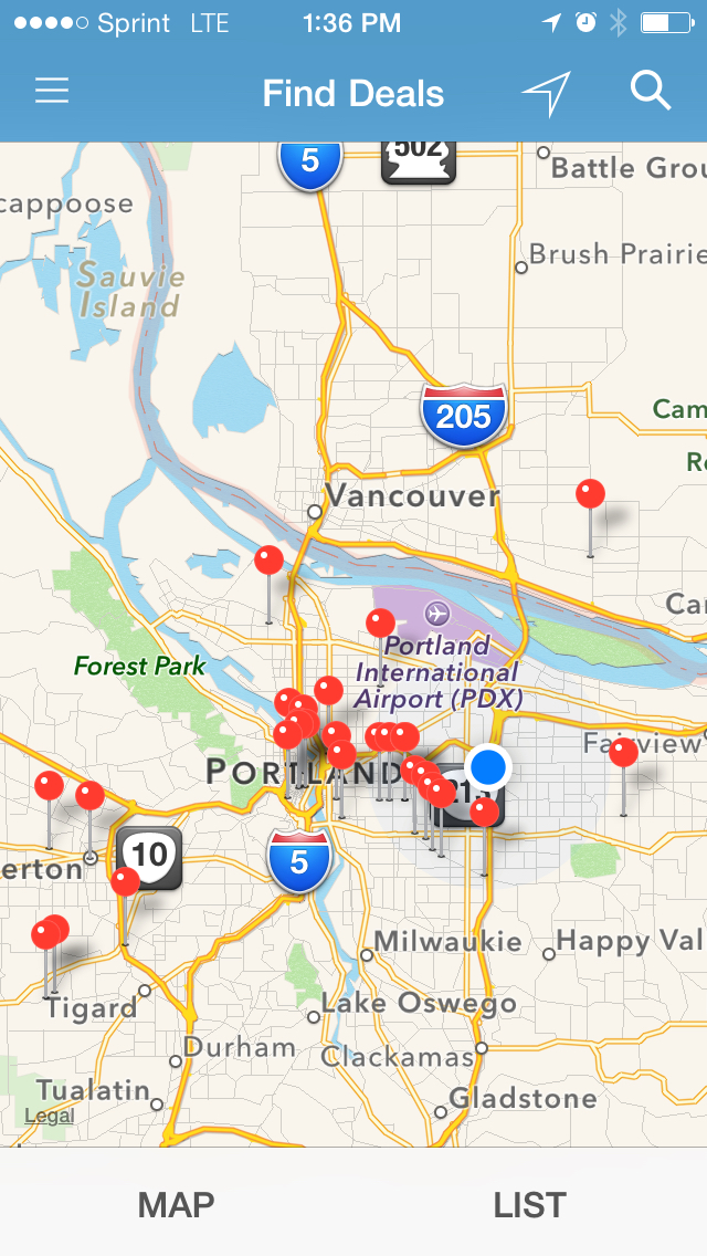 Map view shows business deals surrounding potential customers