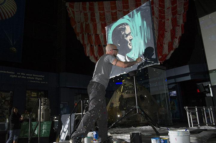 Wernher Von Braun Memorial   Aaron painting Wernher in Huntsville, AL for N.A.S.A.