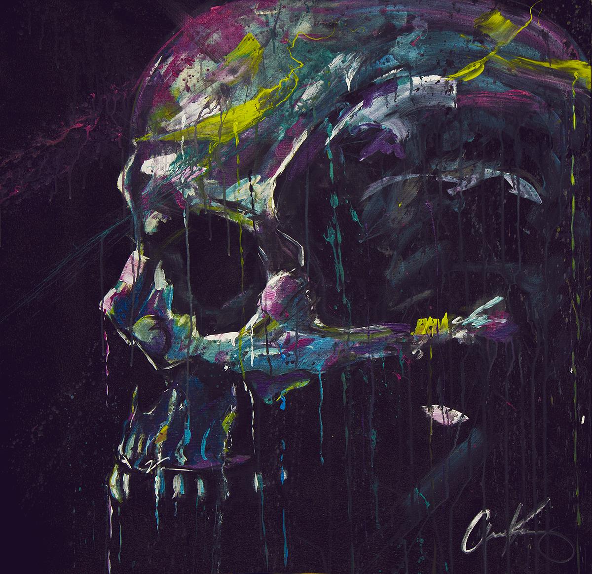 "Memento Mori   48""x48"" latex on canvas. ."