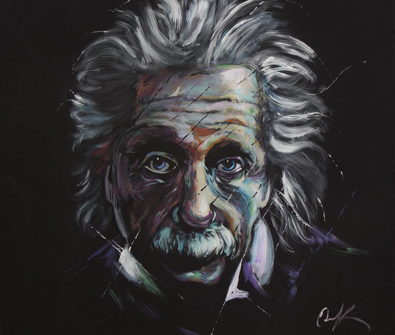 """Albert Einstein   48""""x48"""" latex on canvas."""