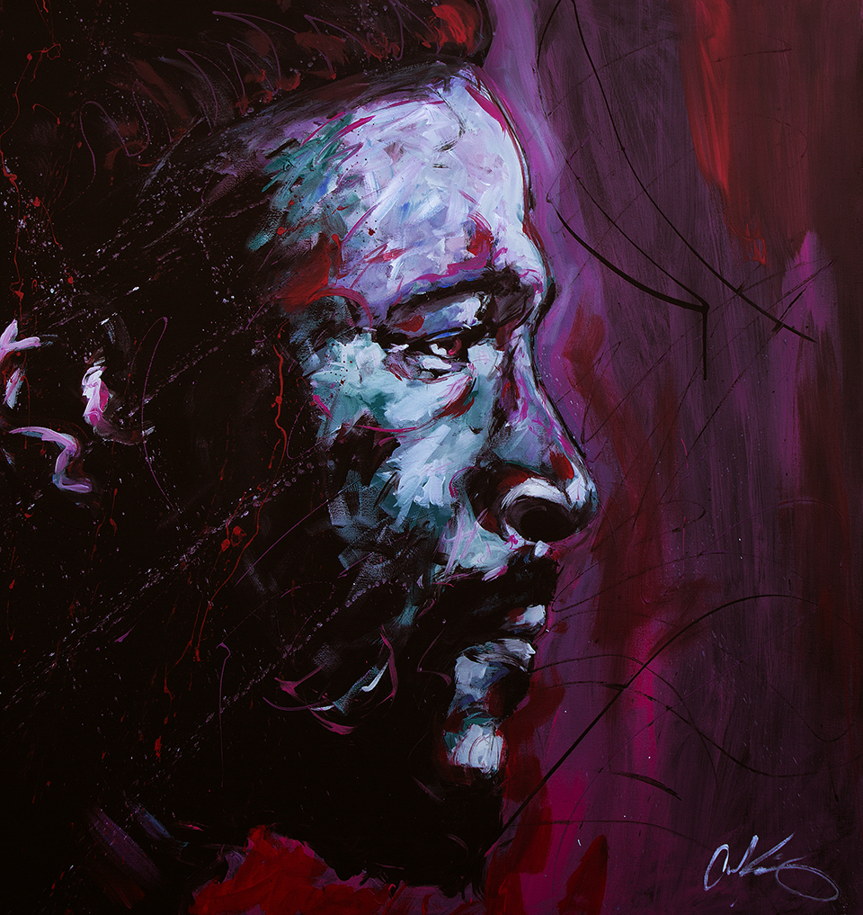 """Marvin Gaye   48""""x48"""" latex on canvas."""
