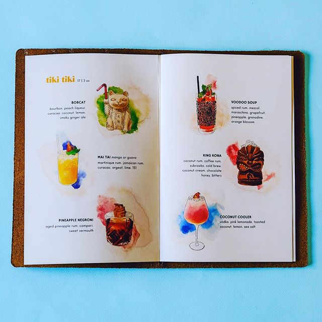 We can't get over how amazing these Tiki drinks look in @thelulubar's menu 💖 @suminnchoii's illustration skills are #goals 👌Our design department may be small, but they're almost definitely mighty, too. #lulubar is open now! Let us know what you think when you stop in 🏄‍♂️🏄‍♀️