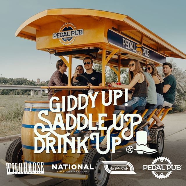We've partnered with @pedalpubcanada to bring you an exciting exclusive experience for Stampede 2019! Round up your crew and spend the day riding a 15-person pub on wheels, cranking up your favourite tunes, and waving at onlookers like you're Stampede royalty! You'll stop at some of Calgary's hottest party spots like @pinbaryyc, @ntnl17 and @ntnl10 where your group will enjoy exclusive discounts & deals before heading to @wildhorseyyc for no line & no cover! Plus, we'll throw in a Wildhorse VIP Boss Pass for the person who books the party! Book by June 14th by using the LINK IN BIO and use the code WILDHORSE100 to receive $100 off your booking!