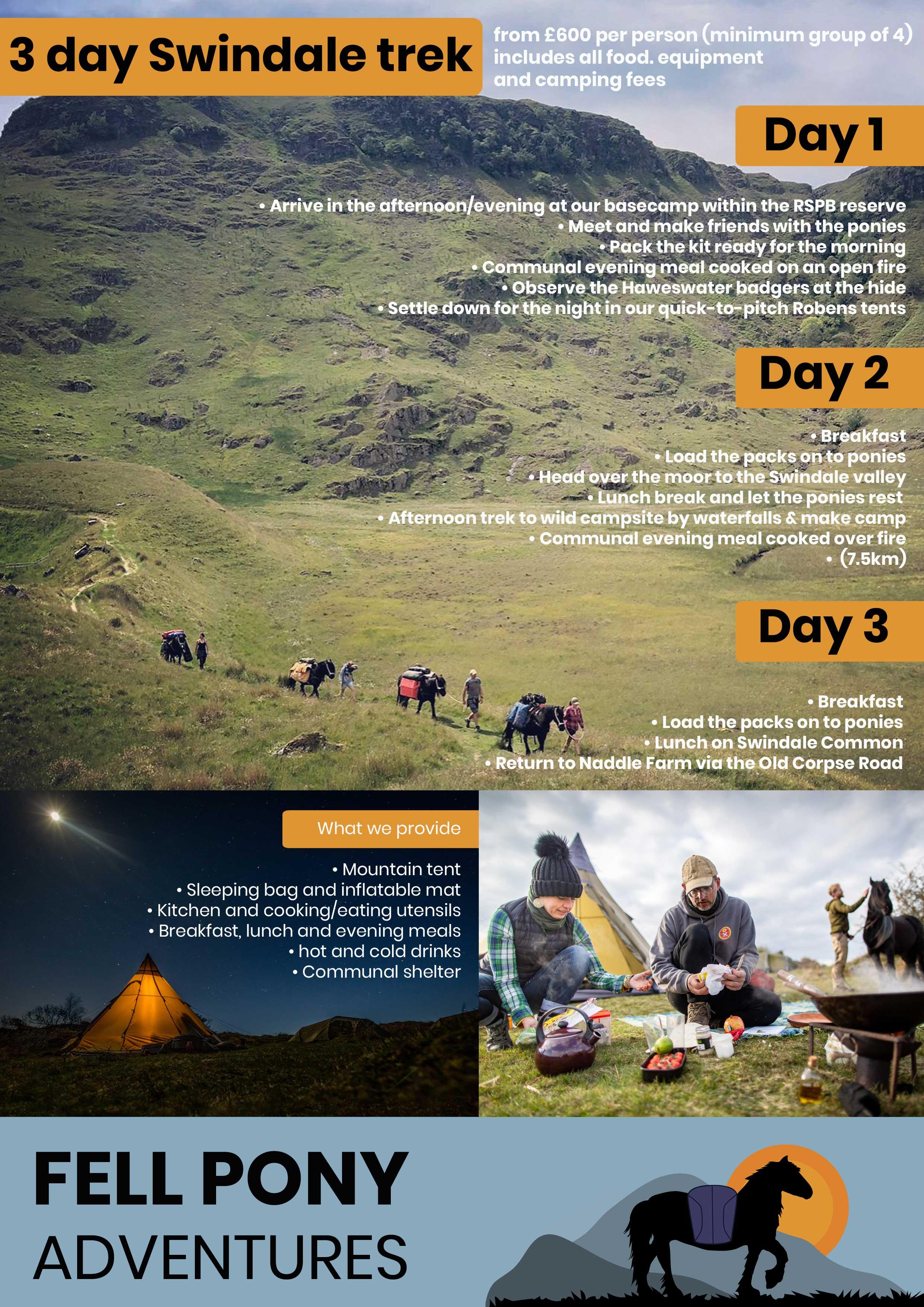 3 day Haweswater wild camp trek Itinerary