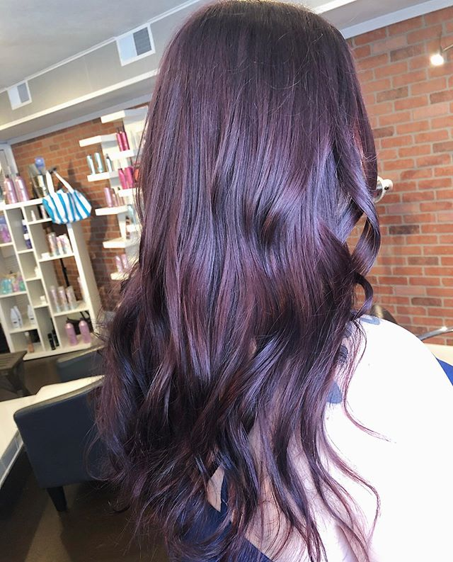 Let the fall colors begin! Customized this beautiful plum color using @redken shades eq! 💜🍂 Colored by @melinda_9280 & styled by @katelampshair