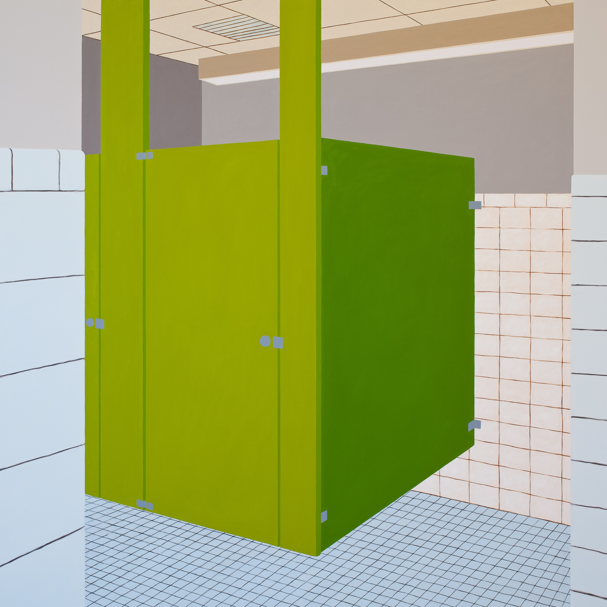 Bathroom Green, 2014, Oil on Linen , 72 X 72 inches