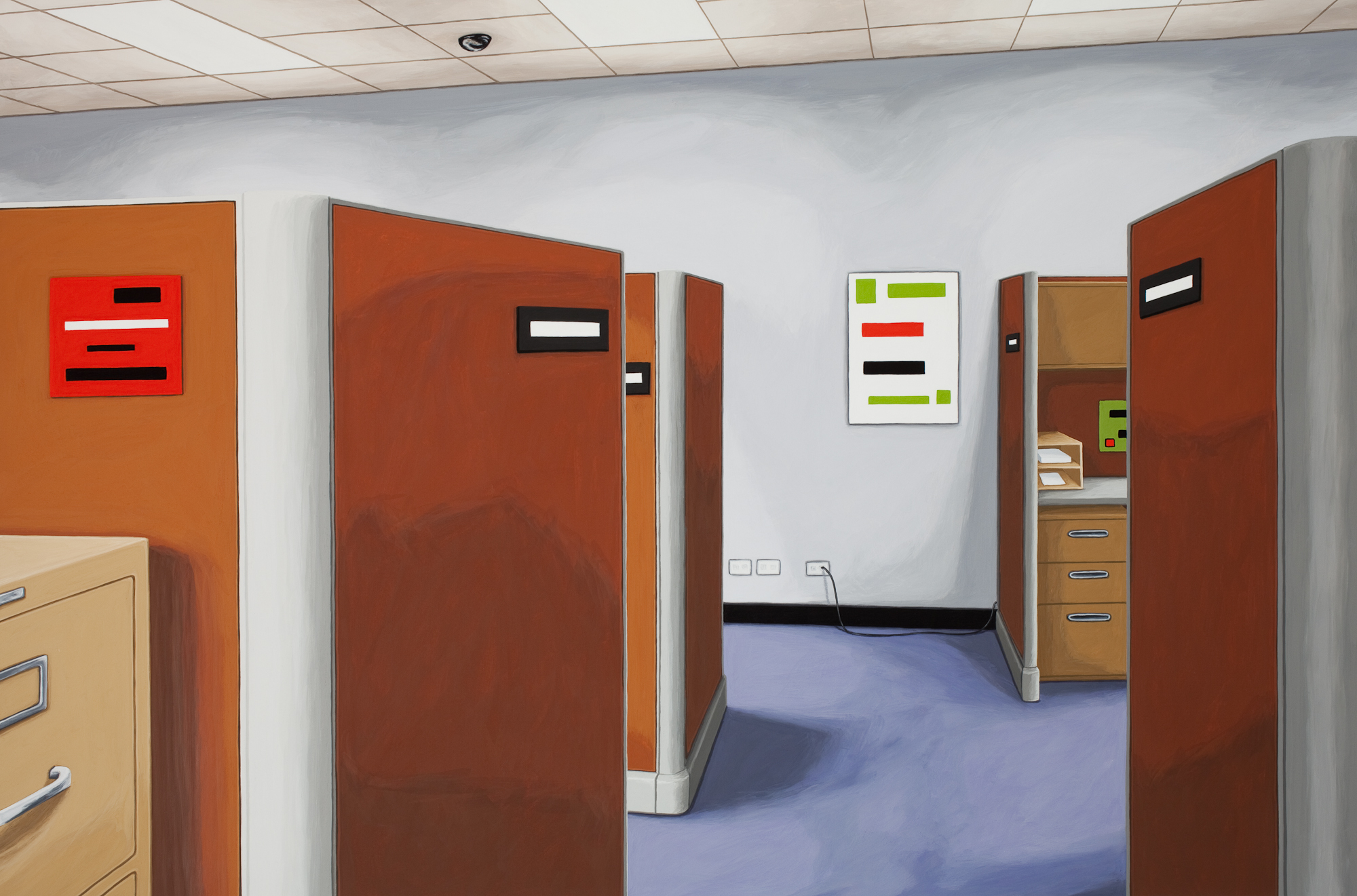Choose Your Cubicle, 2014, Gouache on Paper, 21 X 30 inches
