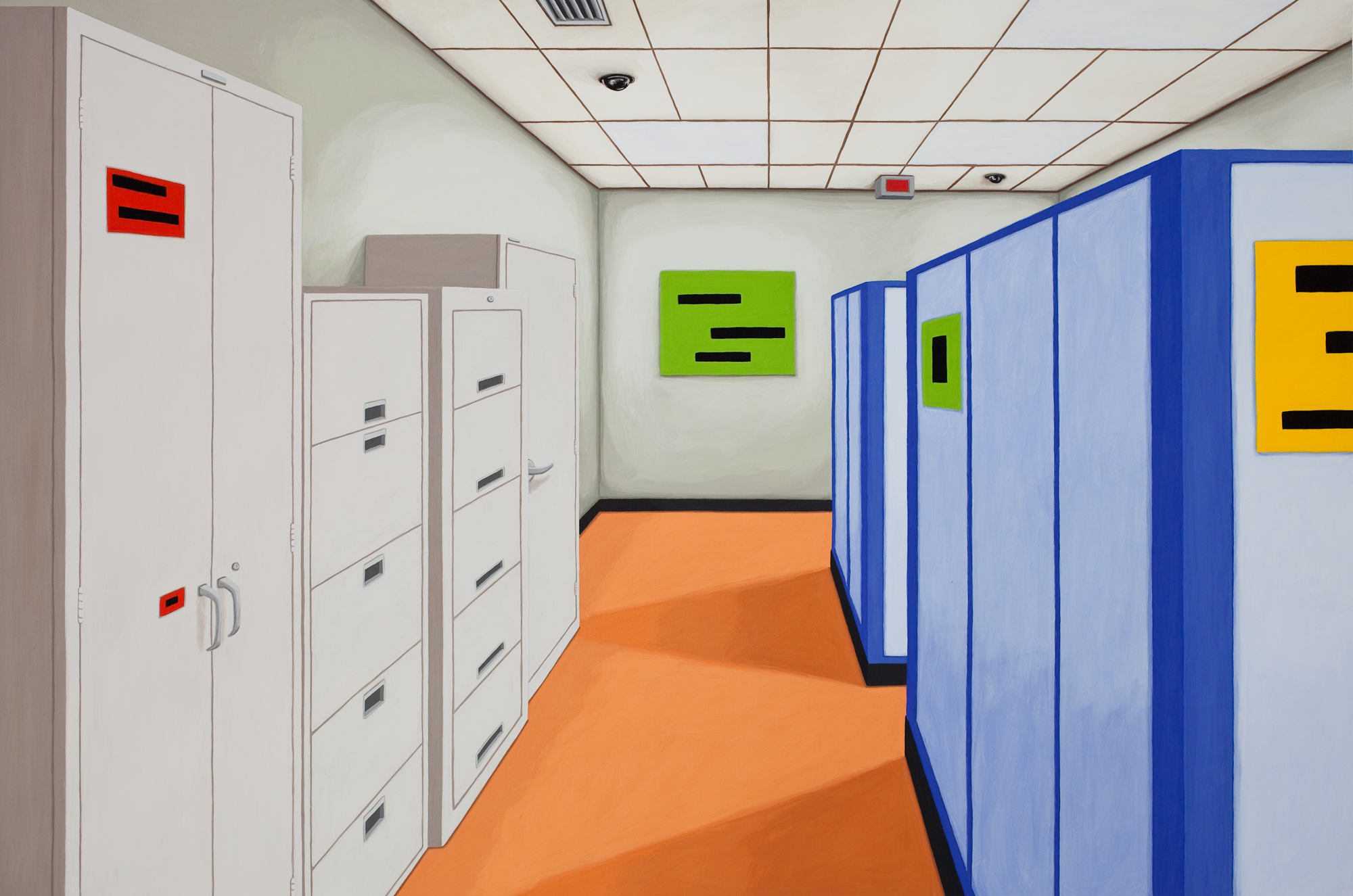 Cubicle #2, 2014, Gouache on Paper, 21 X 30 inches