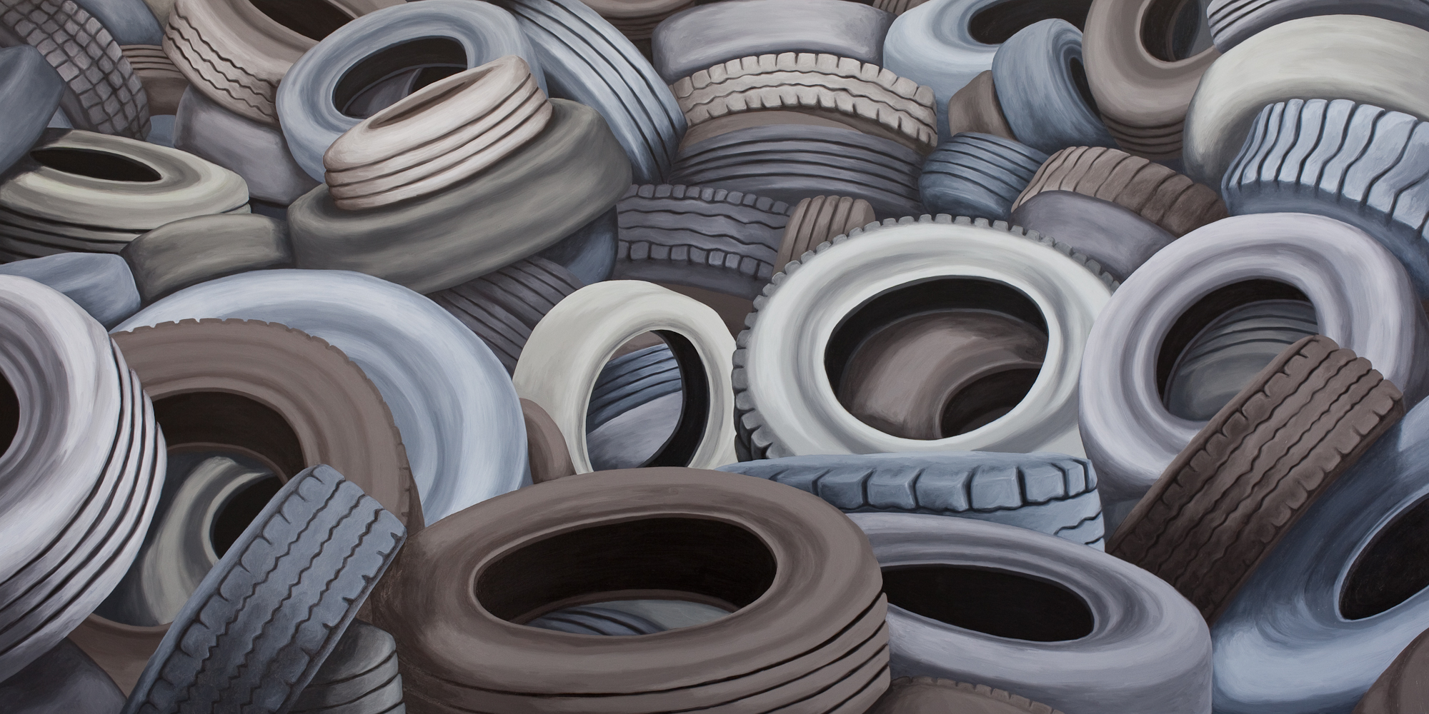 Tires #2, 2018, Oil on Panel, 18 X 36 inches
