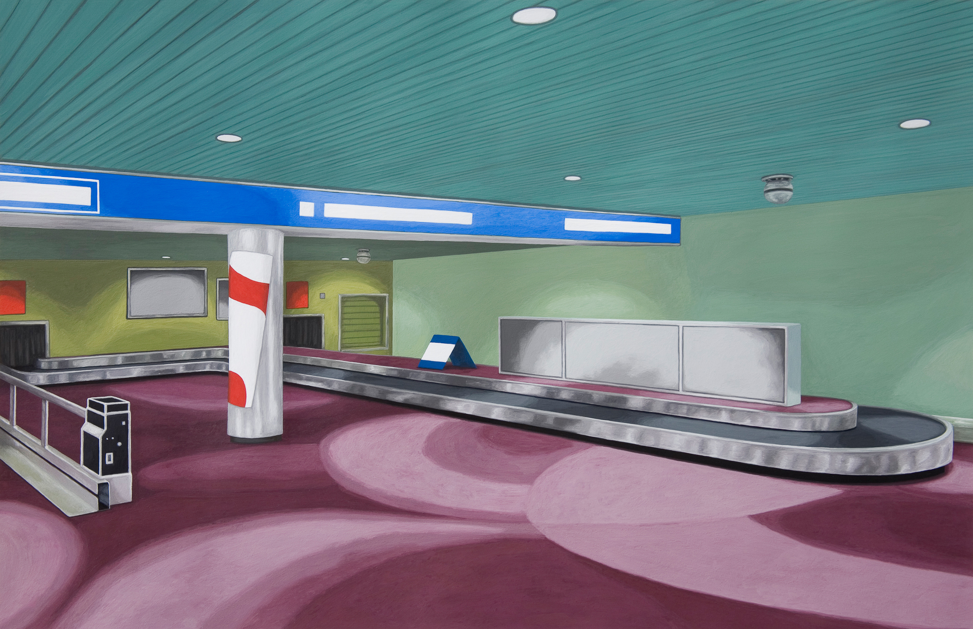 Baggage Claim #2, 2008, Gouache on Paper, 15 X 22 inches