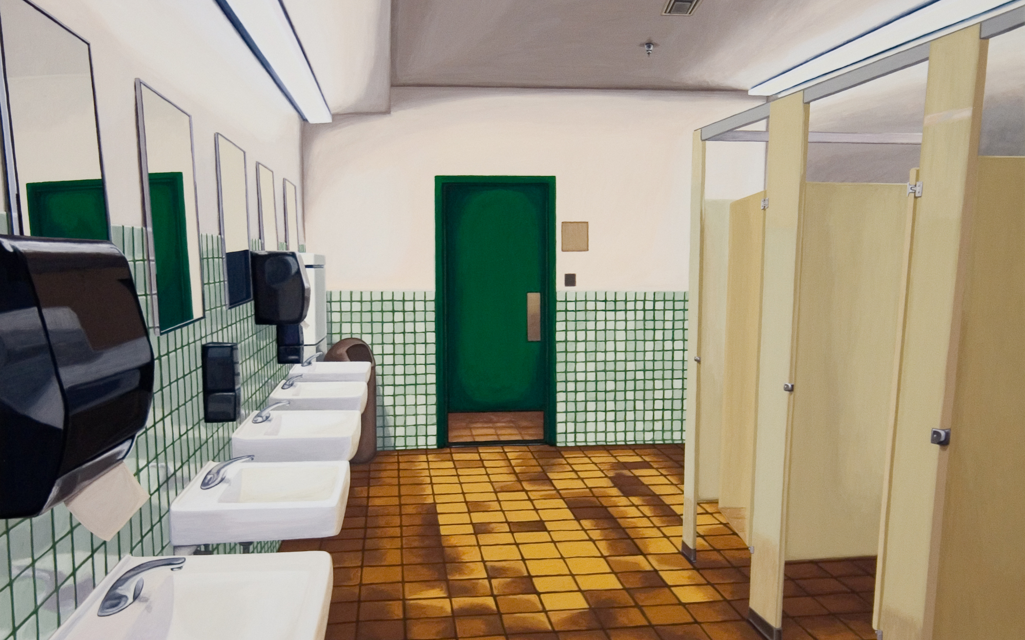 Bathroom #2, 2005, Gouache on Paper, 15 X 22 inches