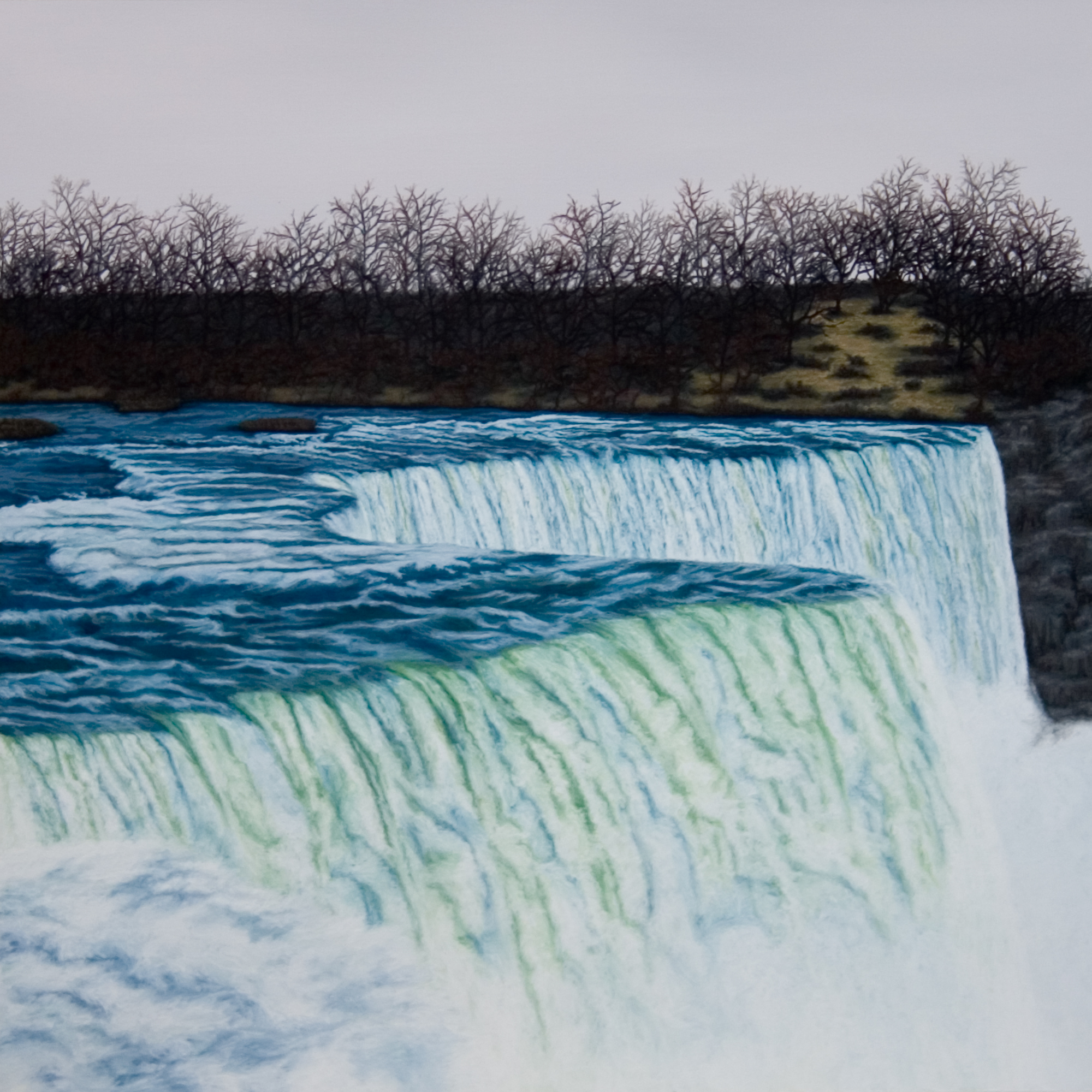 Waterfall, 2006, Gouache on Paper, 15 X 15 inches