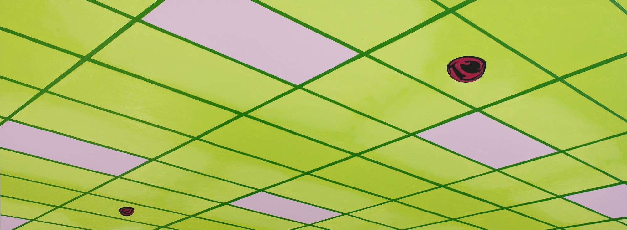 Ceiling #2, 2019, Oil on Panel, 12 X 32 inches