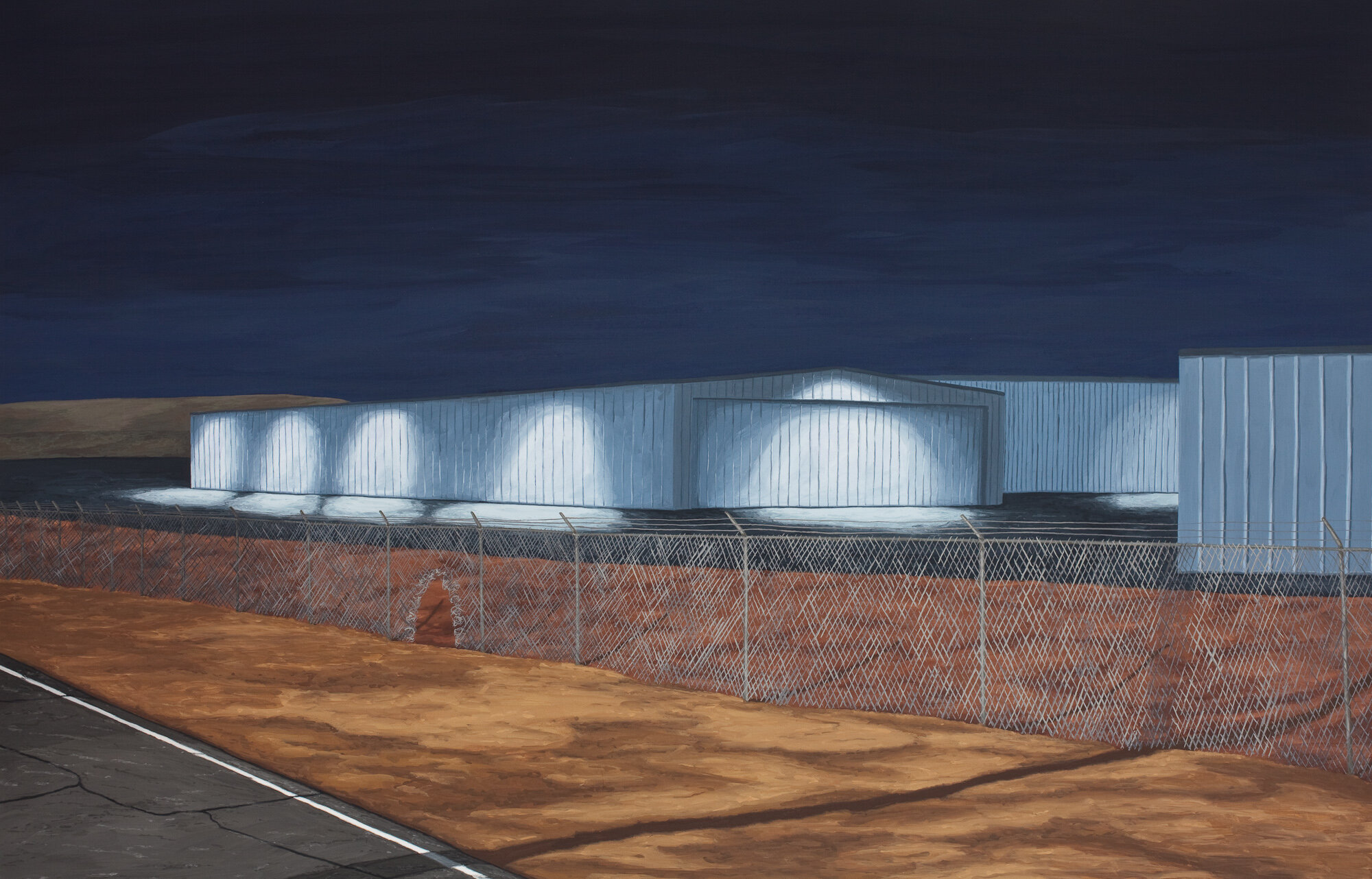 Warehouses at Night, 2019, Gouache on Paper, 17 X 25.5 inches