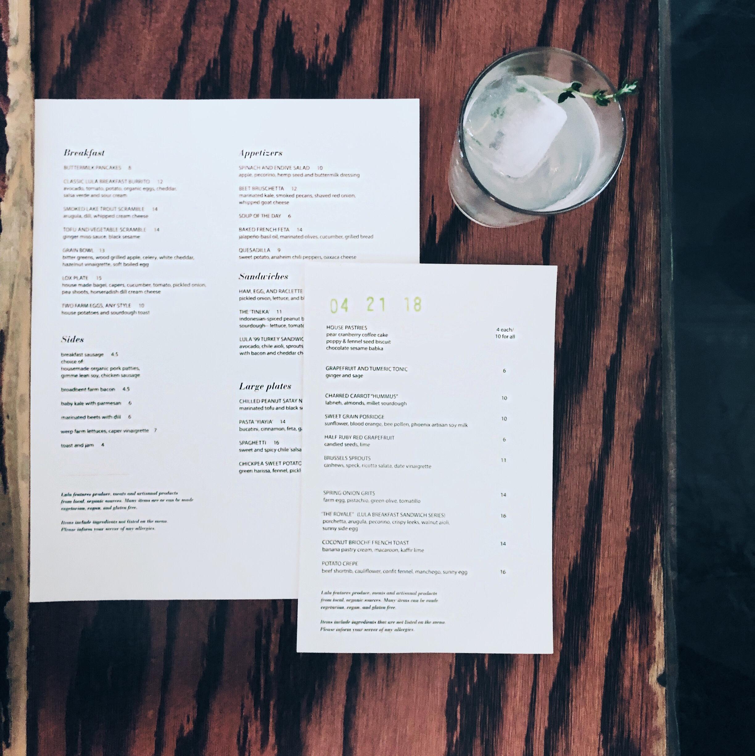 Lula Cafe Menu, Updated Regularly
