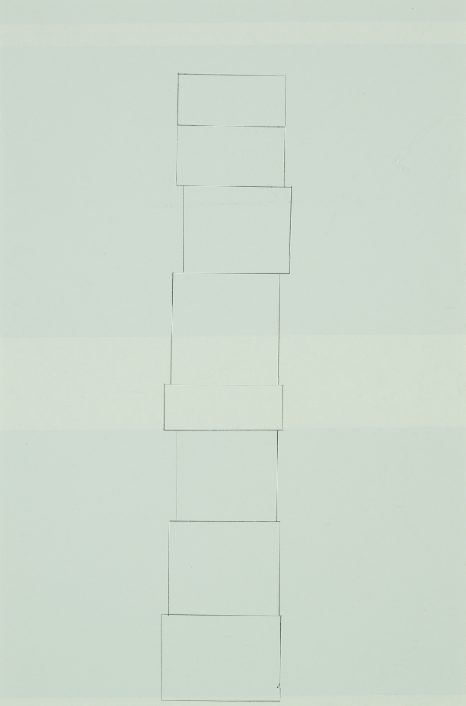All Cloud Box Stack, graphite transfer on screenprint, 15.5 x 10 inches