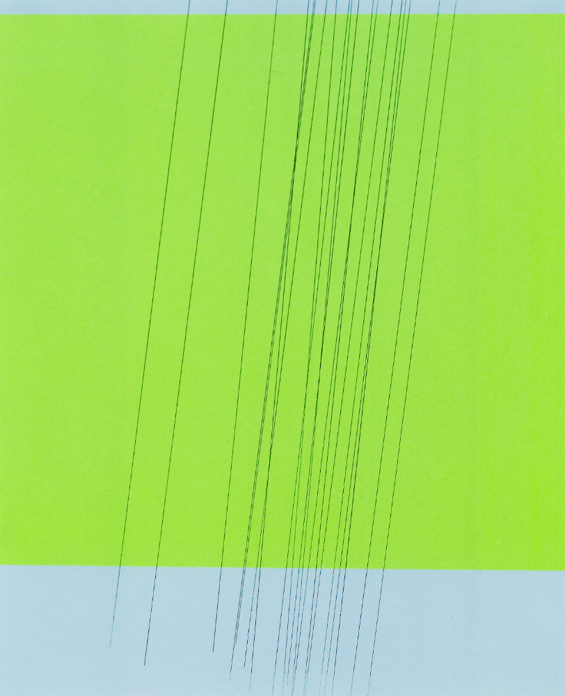 Blue Green Blue Solid Rain Lines, graphite transfer on  screen print, 15 x 12 inches