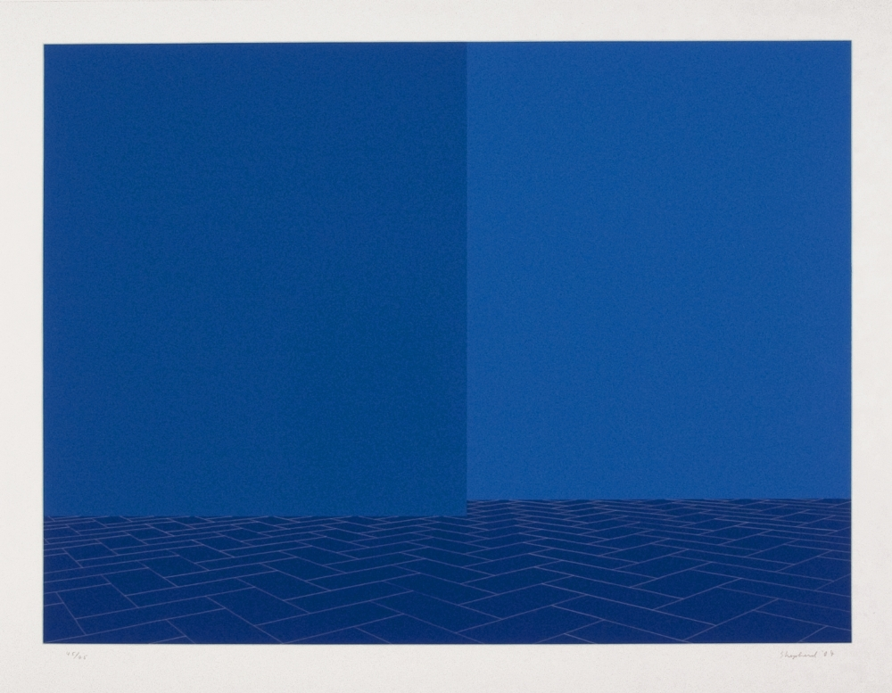Imagined Evening Day, Blue Brick Stage , screenprint, 32 3/4 x 41 5/8 inches, Pace Prints, edition of 45