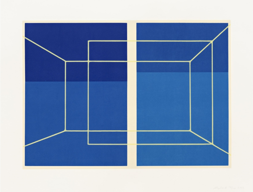Lit Lines on Four Blues, One Transparent Wall , linocut, 25 3/4 x 33 1/2 inches, Pace Prints, edition 40