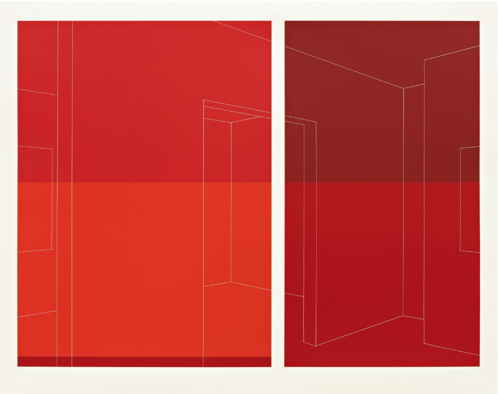 Still Gallery, View Between, 4 Reds, Thread Line , 2002, screenprint on museum board, 34 1/8 x 43 1/2 inches, Pace Prints, artist's proof
