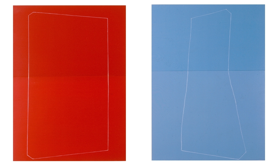 Simple Red Figure & Lil Light Blue Dress , oil and enamel on panel,16.5 x 12/16.5 x 12 inches