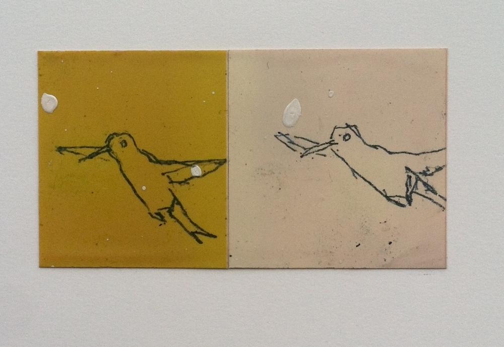 two flying birds with white paint splatter.JPG