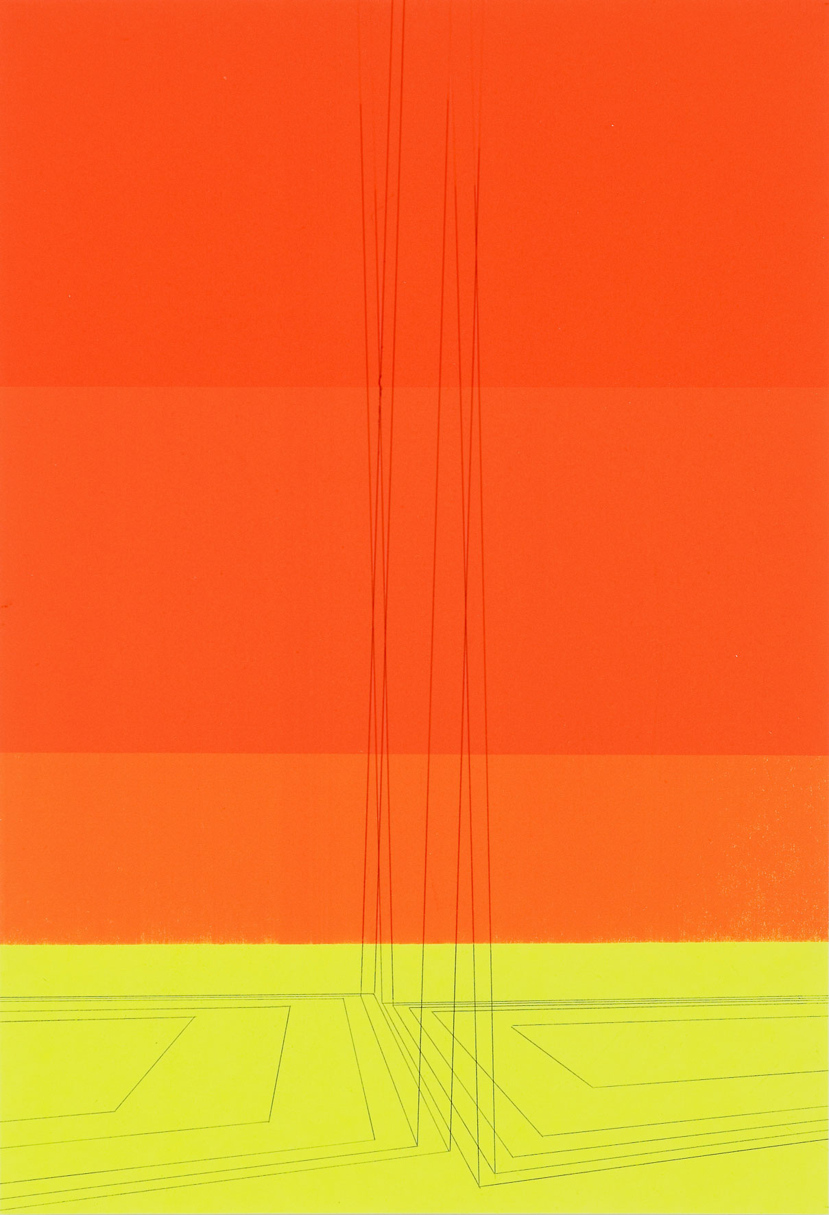 Pyre Lines on Orange from Yellow Ground, graphite transfer on screenprint, 12 x 17.5 inches