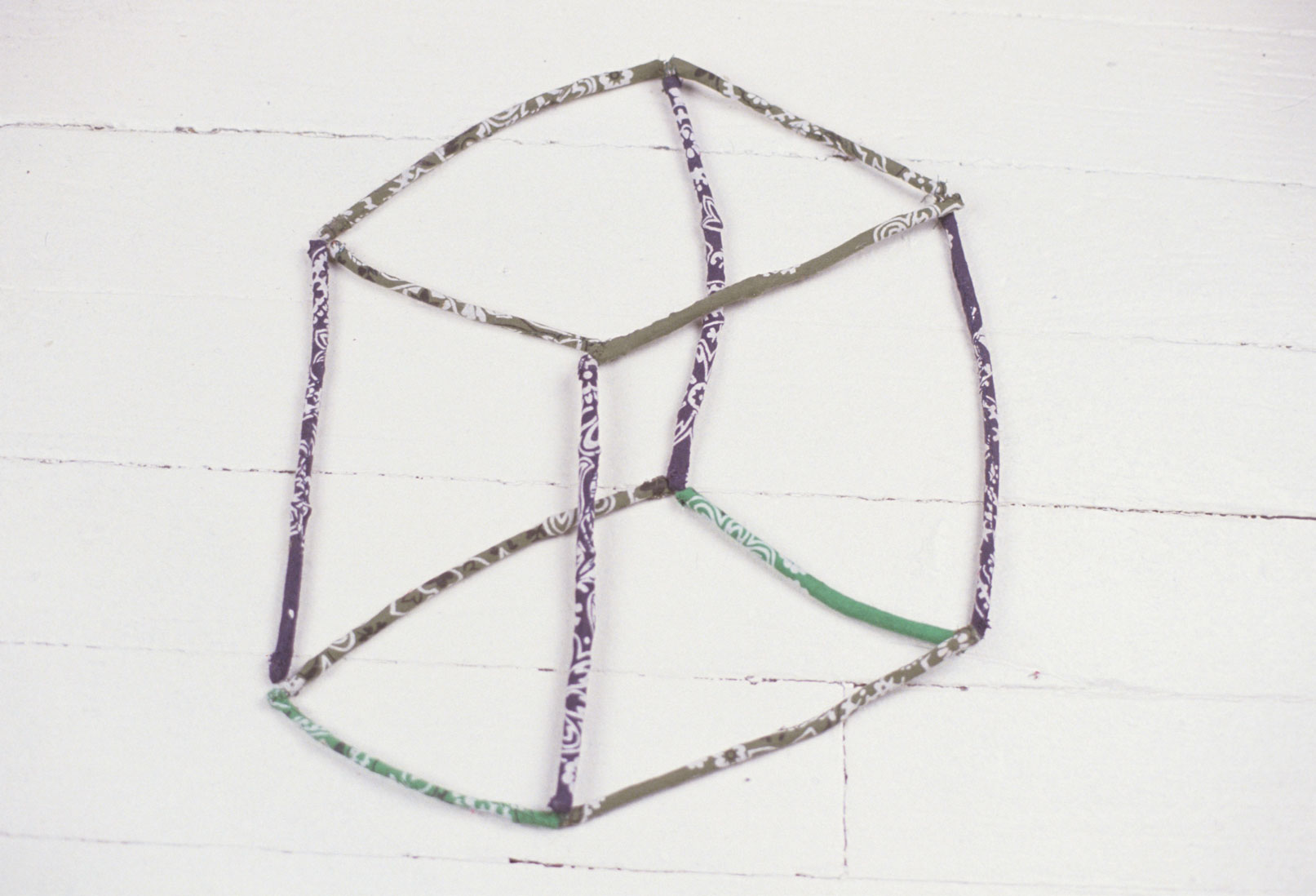 Transparent Cube,bandanna sewn over twigs,4 x 11 x 13 inches